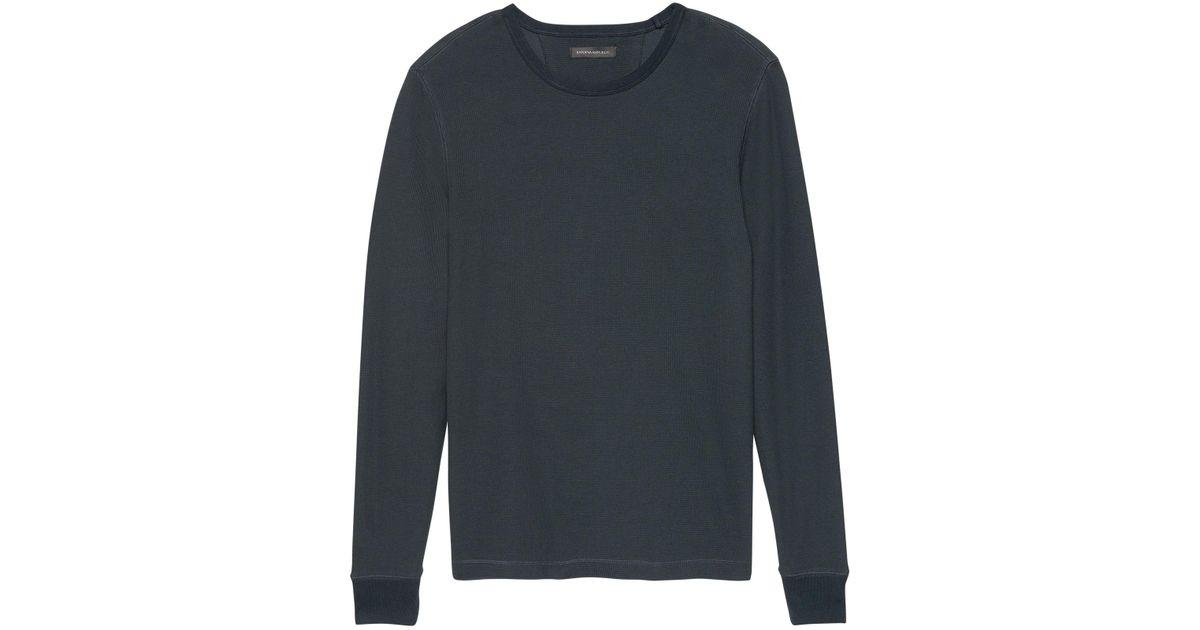 b7ec1678 Lyst - Banana Republic Waffle-knit Crew-neck Thermal T-shirt in Blue for Men