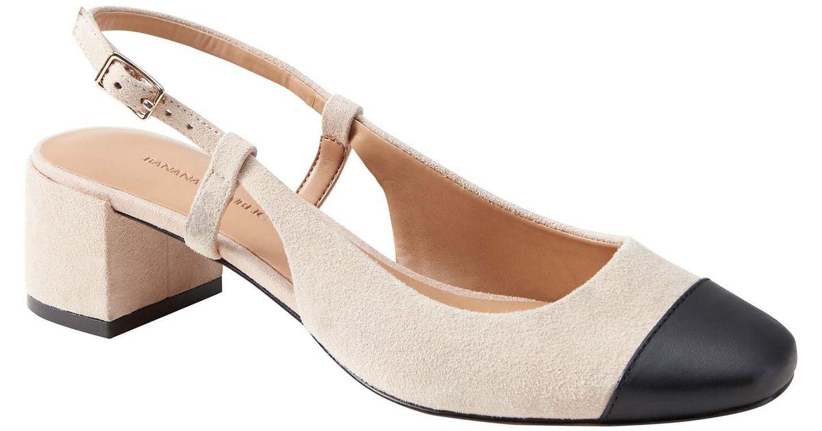 c9fc97d4a10c2 Banana Republic Low Block-heel Slingback Pump - Lyst