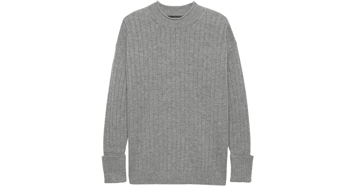 c5dd47d5860 Lyst - Banana Republic Washable Wool-cashmere Ribbed Sweater in Gray