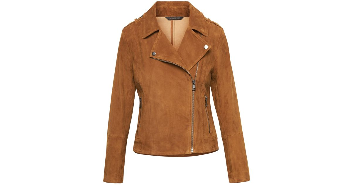 f006ef34d Banana Republic Brown Life In Motion Stretch Suede Moto Jacket