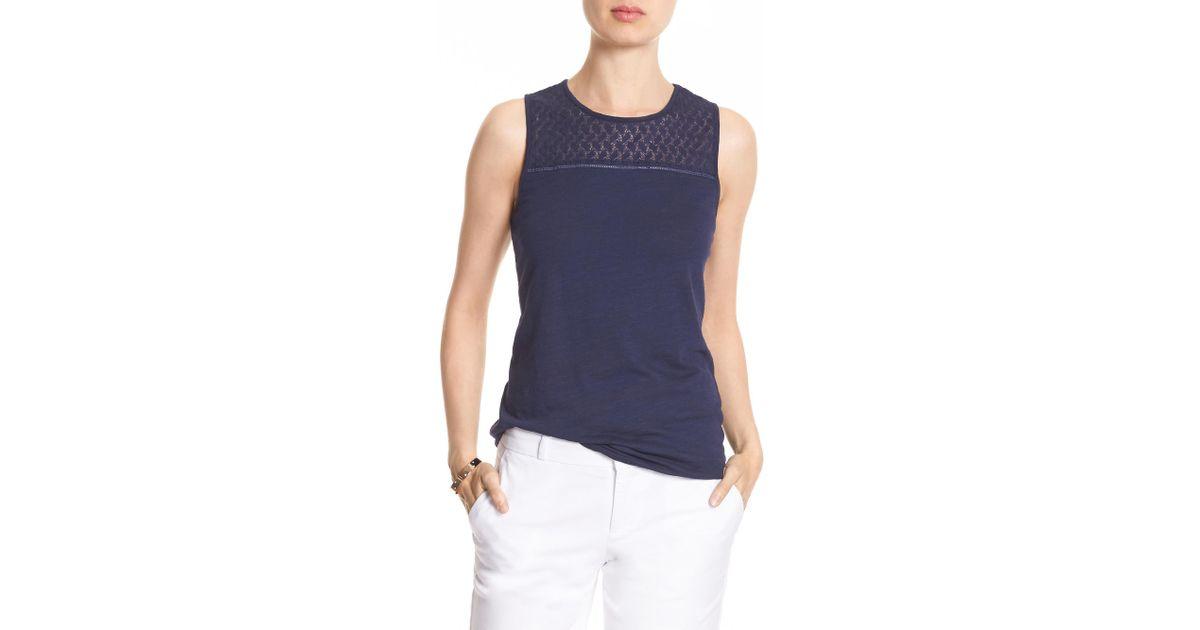 d7e3d27e54096 Lyst - Banana Republic Factory Sleeveless Lace Trim Top in Blue