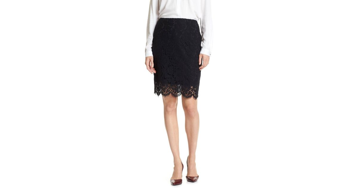 01480f7f6 Lyst - Banana Republic Factory Lace Pencil Skirt in Black
