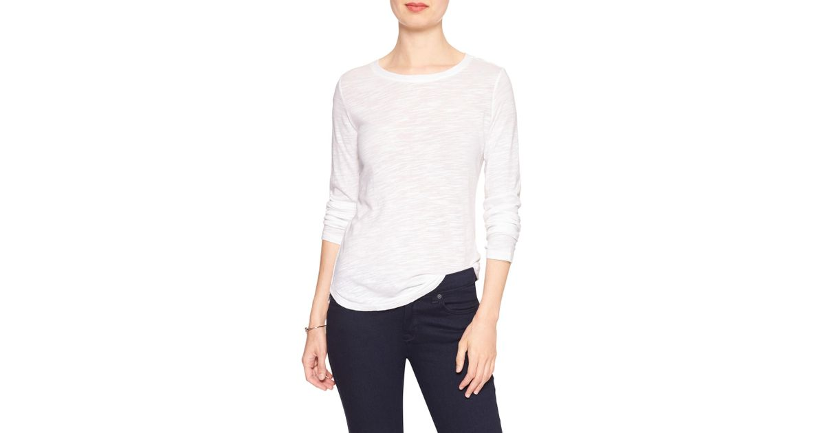 durable service lovely design quite nice Banana Republic Factory White Malibu Crew-neck Long Sleeve Tee