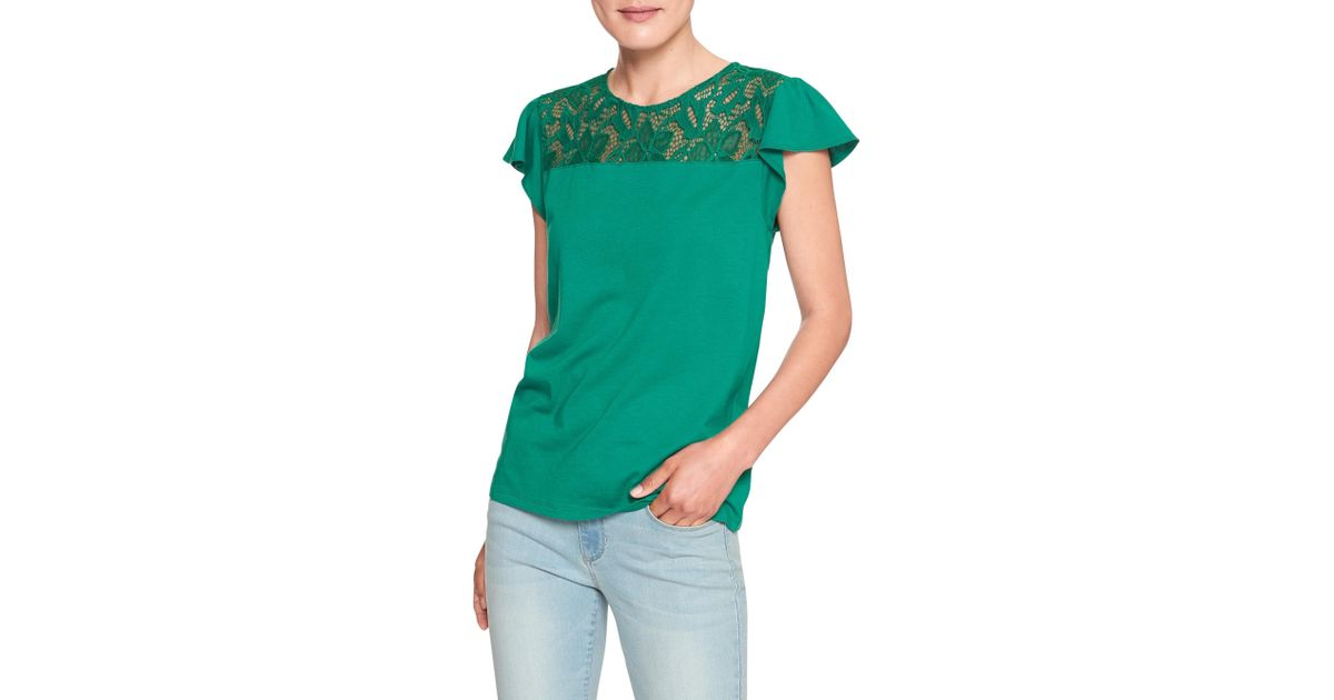 b3106d9f04b91 Lyst - Banana Republic Factory Lace Trim Top in Green