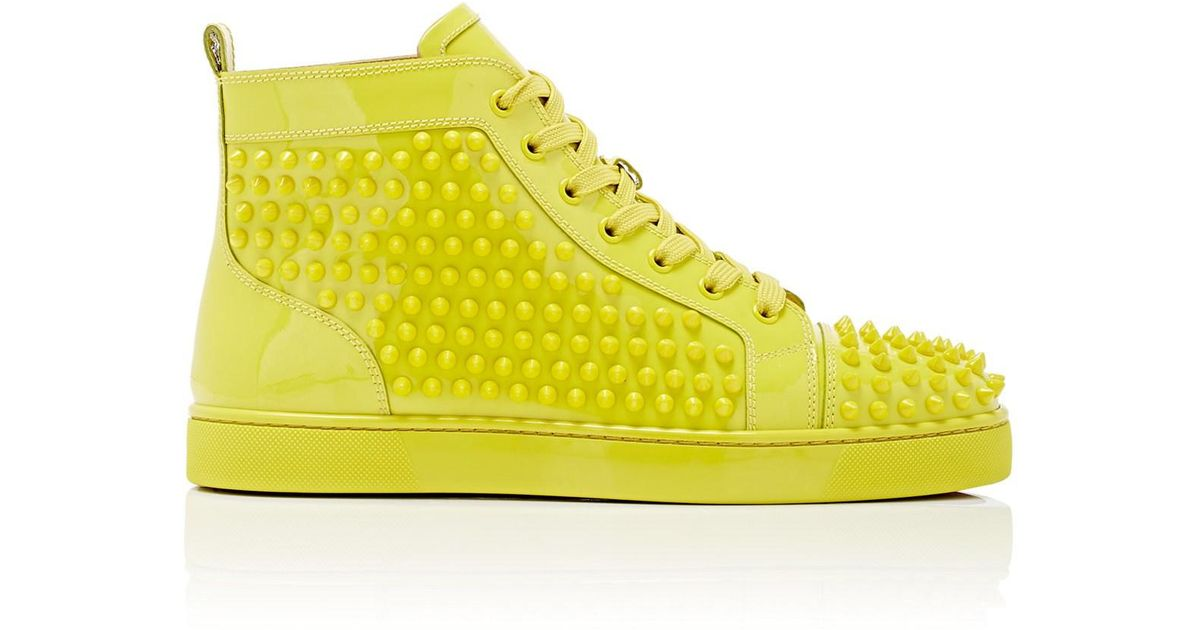 dcaaa4c177e Christian Louboutin Louis Flat Patent Leather Sneakers in Yellow for Men -  Lyst
