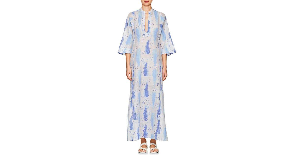 73fde76167 Lyst - Thierry Colson Rachel Floral Print Silk Blend Kaftan in Blue