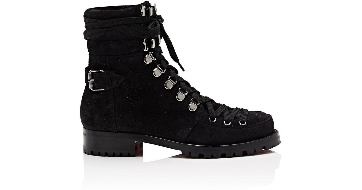 f519121f54d0 ... australia lyst christian louboutin who runs flat suede ankle boots in  black 33a15 21715