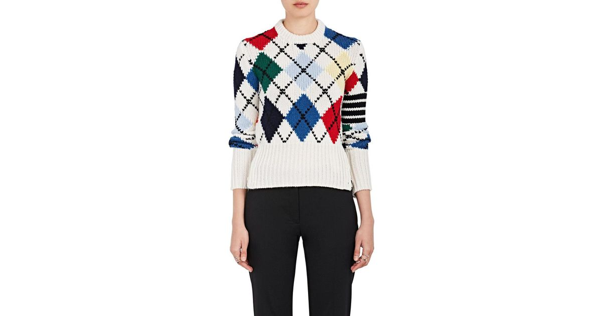 e976509e5d Thom Browne Argyle Cashmere Sweater in White - Lyst