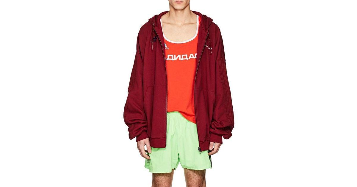 Gosha Rubchinskiy Red Logo Cotton French Terry Oversized Hoodie for men