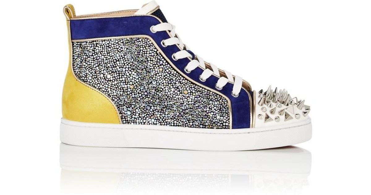 5b09c54cf62 Lyst - Christian Louboutin No Limit Spiked Leather   Suede Sneakers in Blue  for Men