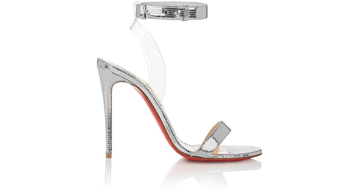 new concept 3e3cc a7f6f Christian Louboutin Jonatina 100 Pvc-trimmed Metallic Lizard-effect Leather  Sandals