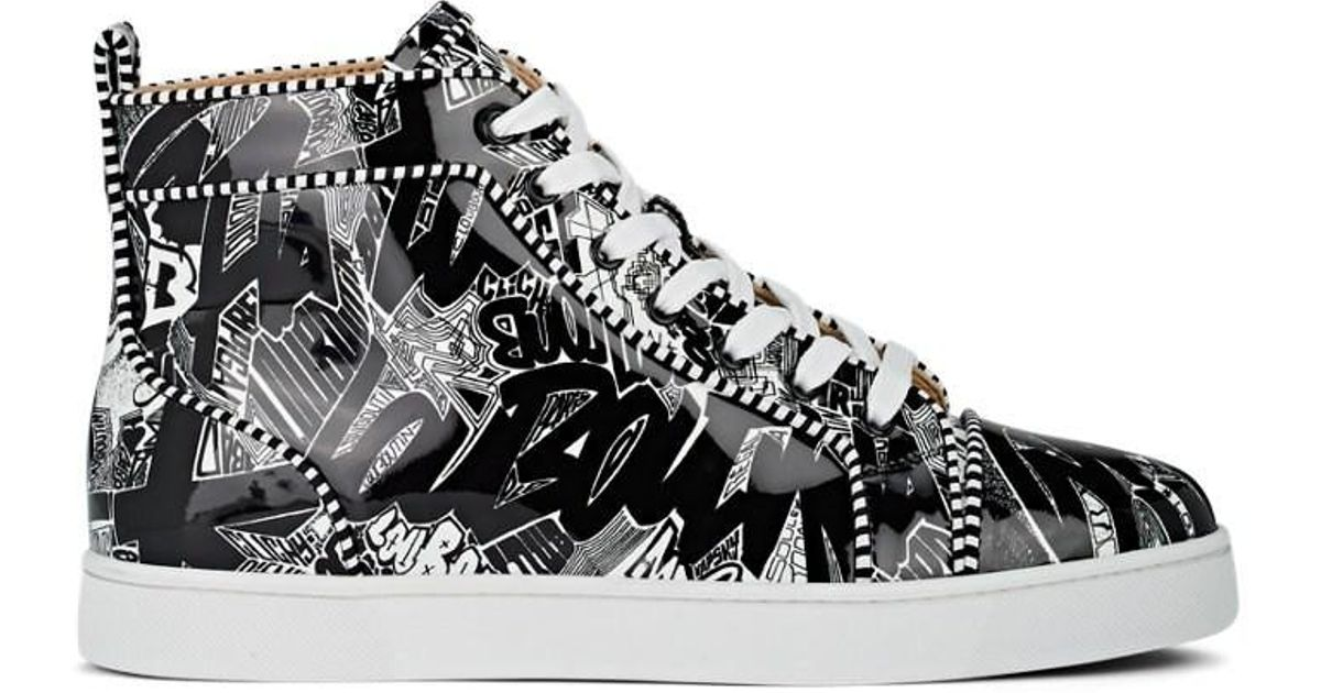 d4a19e2575c Christian Louboutin Black Louis Graffiti-print Leather Sneakers for men