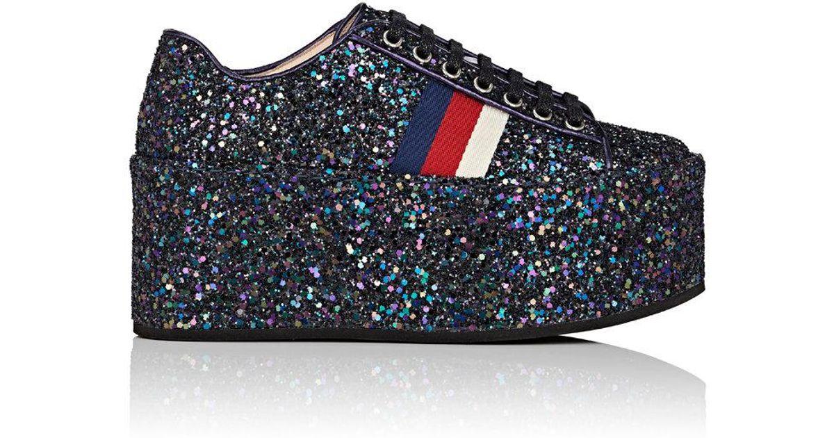 7417c500883fe Lyst - Gucci Peggy Glitter Platform Sneakers