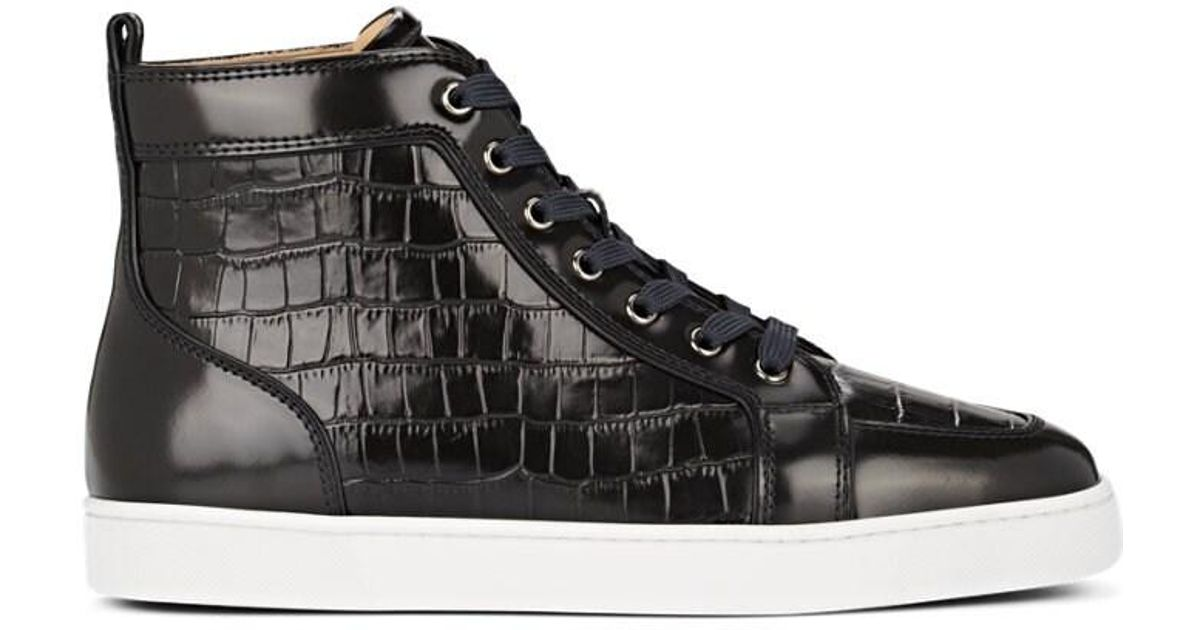 finest selection d821c c6c45 Christian Louboutin Black Rantus Flat Crocodile-stamped Leather Sneakers  for men