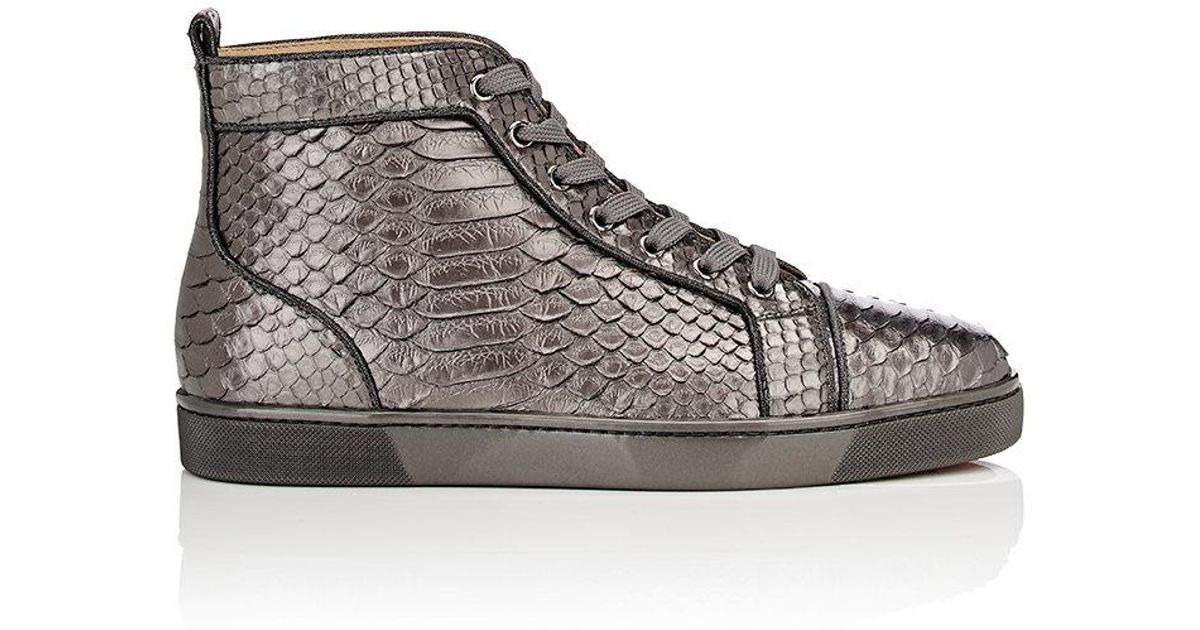 best sneakers e1e0d efed3 Christian Louboutin Metallic Louis Orlato Flat Python Sneakers