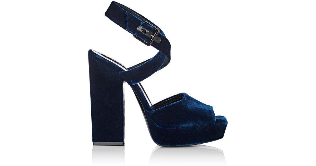 ab91406aa8c Lyst - Saint Laurent Debbie Velvet Platform Sandals in Blue