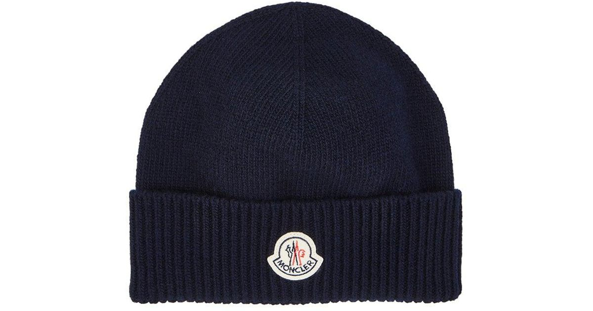 6dbbcbb5d55 Lyst - Moncler Logo Virgin Wool Beanie in Blue for Men
