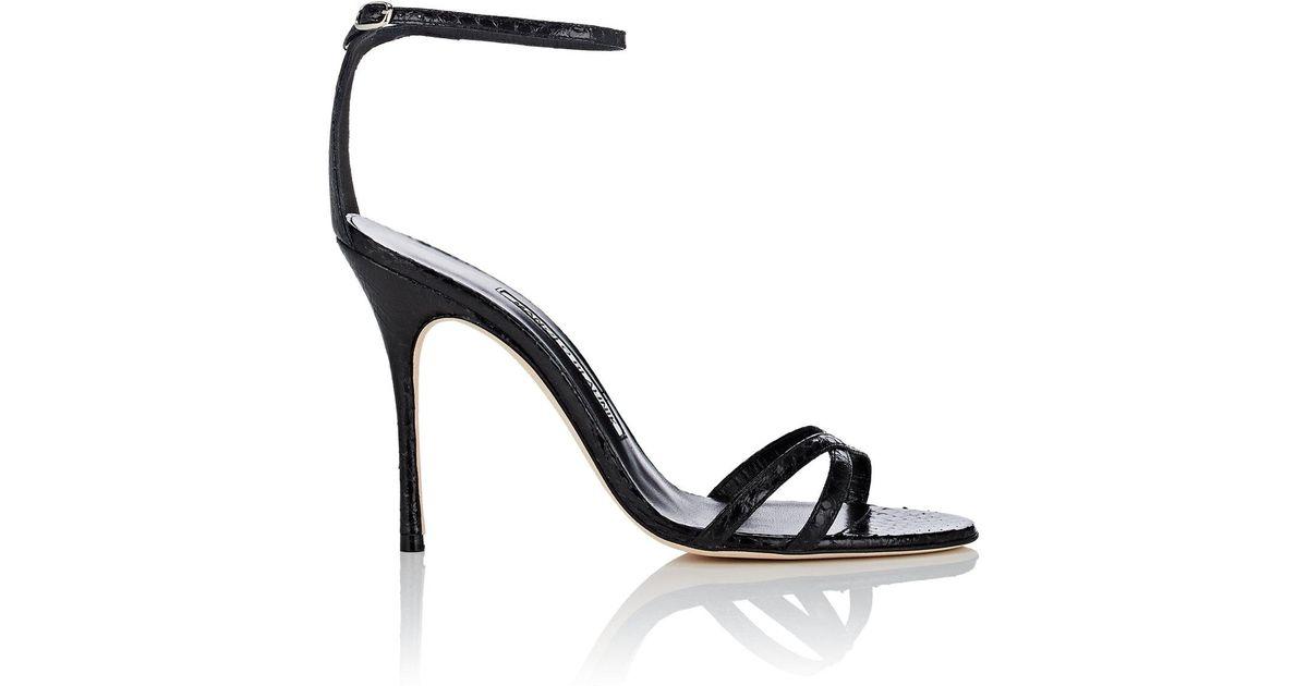 59f7d694c0c8 Lyst - Manolo Blahnik Paloma Snakeskin Sandals in Black