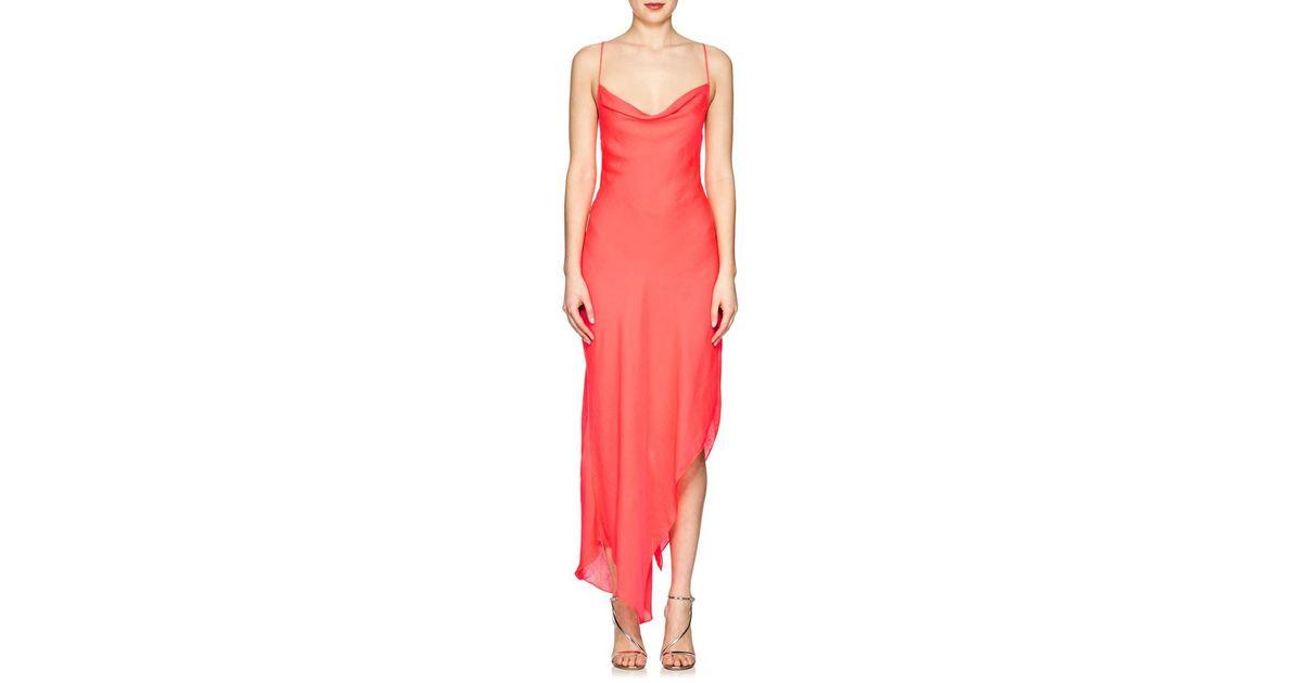 562786a3a5f0 Juan Carlos Obando Asymmetric Washed Cowlneck Dress in Red - Lyst