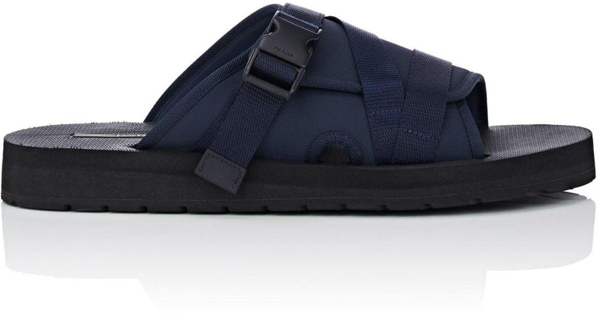 f976edf9aa282a Lyst - Prada Crisscross-strap Nylon Slide Sandals in Blue for Men