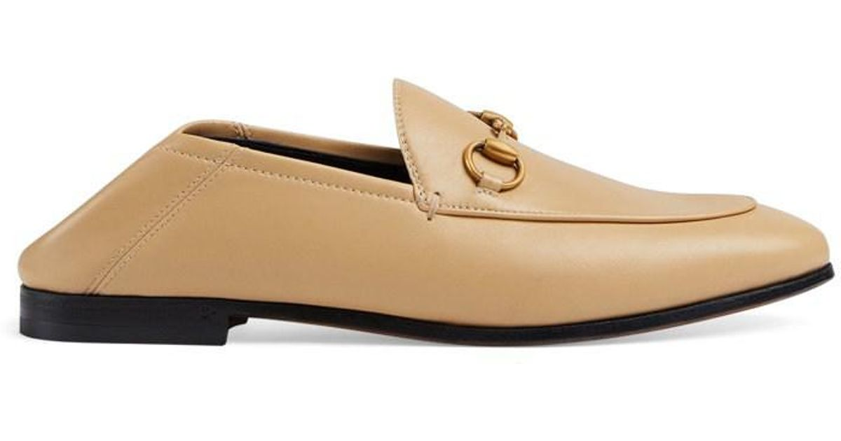 d85f9416084 Lyst - Gucci Brixton Leather Loafers in Natural