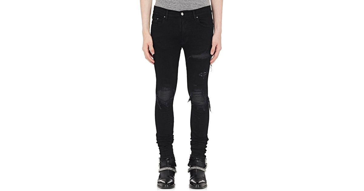 9953adf9658fa1 Amiri Mx1 Leather-inset Slim Jeans in Black for Men - Lyst