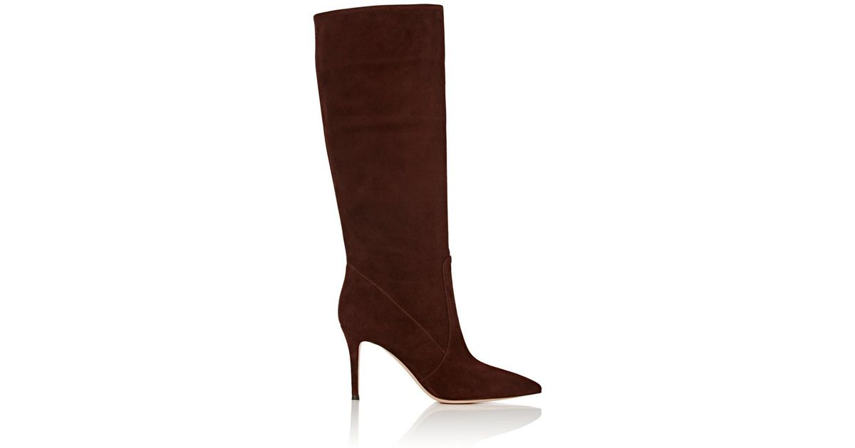 7f704630e5c Lyst - Gianvito Rossi Suede Knee Boots in Brown