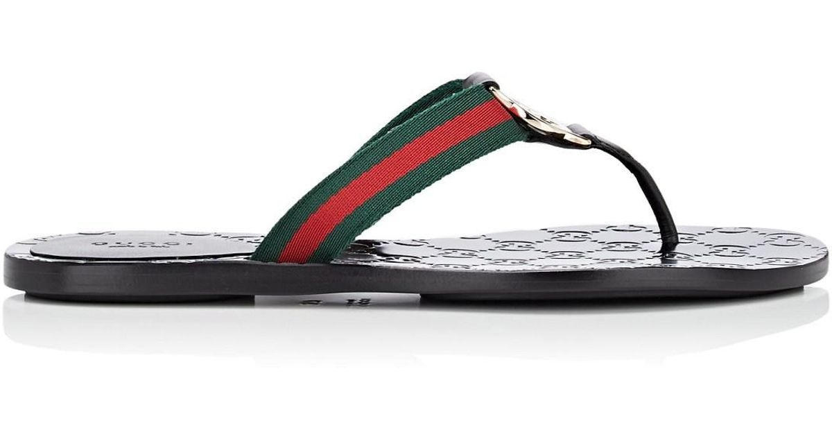 65d9b9953f1e Lyst - Gucci Leather   Nylon Thong Sandals in Black
