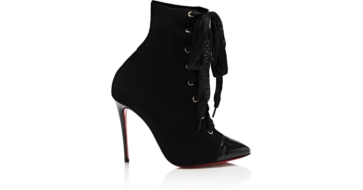 31e9a4503f6f ... where can i buy lyst christian louboutin frenchie knit ankle boots in  black 7233b 08088