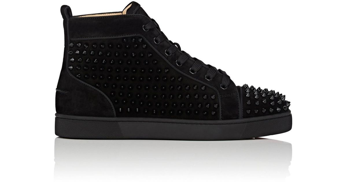 watch 9b3f1 9008f Christian Louboutin Black Louis Orlato Flat Suede Sneakers