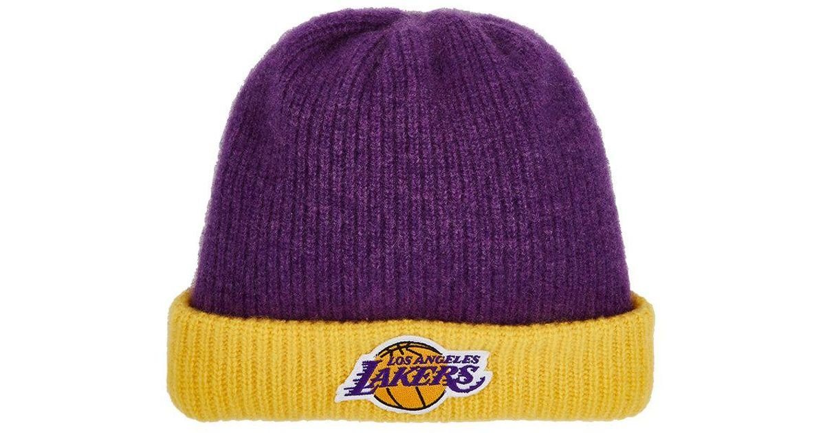 6751dfbe330 The Elder Statesman Los Angeles Lakers Logo Cashmere Watchman s Cap in  Purple for Men - Lyst