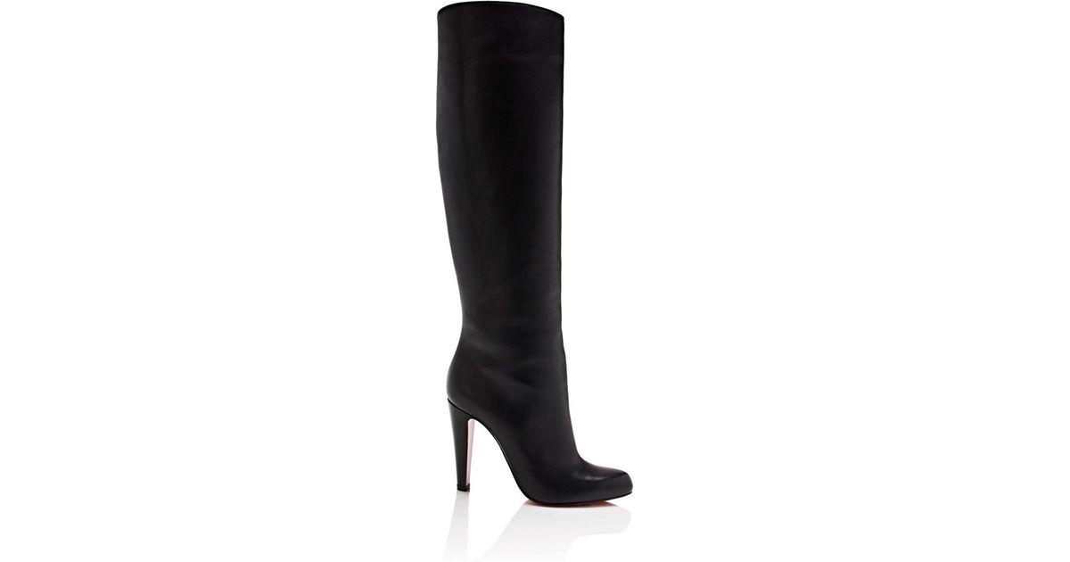 online store afaeb b5d63 Christian Louboutin Black Marmara Leather Knee Boots