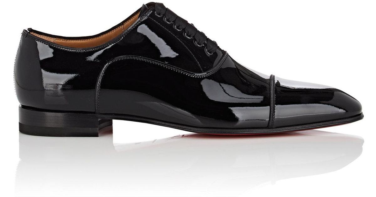 online store 47baf 237bb Christian Louboutin Black Greggo Flat Patent Leather Balmorals for men