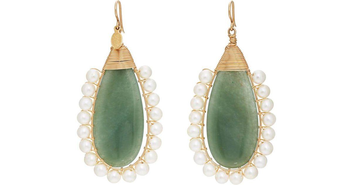 Lolita 14K Gold Adventurine and Pearl Drop Earrings Beck Jewels Qgx8mtY