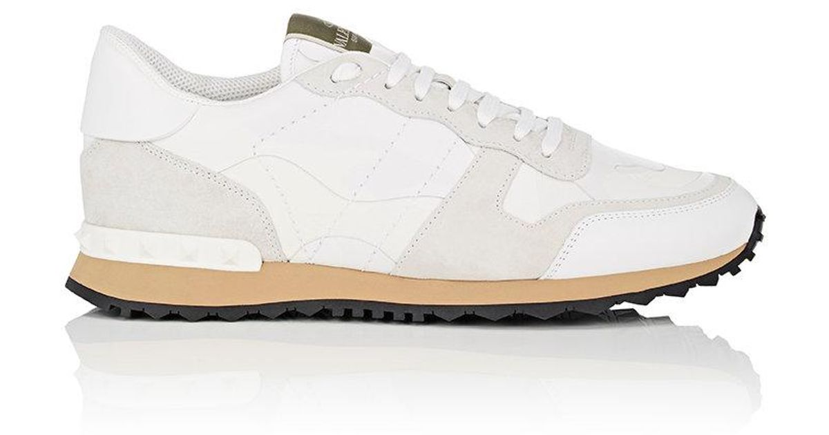 Valentino Canvas Camouflage Rockrunner Sneakers In White