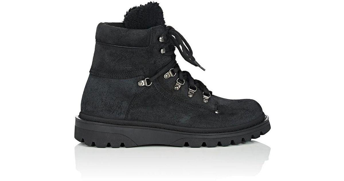 Moncler Black Egide Suede Hiking Boots for men