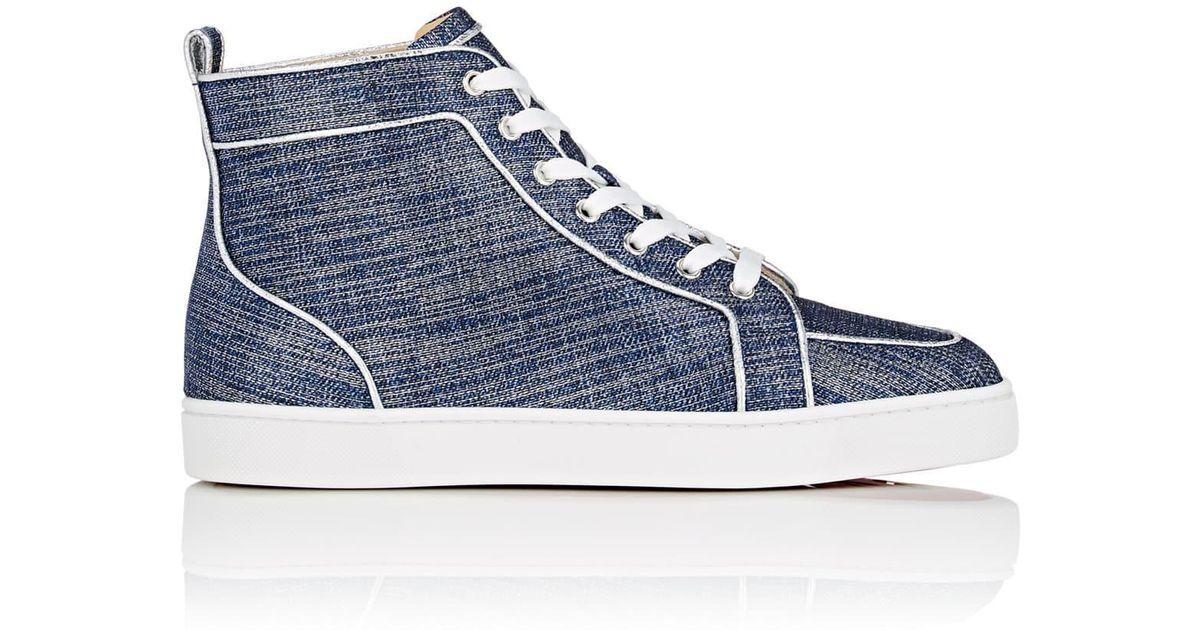 ef21703bb7f Christian Louboutin Blue Rantus Orlato Flat Lamé Sneakers for men