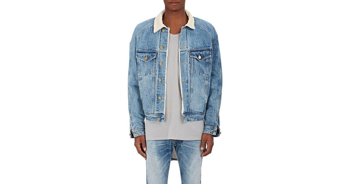 e44ee5407f Fear Of God Corduroy Collar Denim Trucker Jacket in Blue for Men - Lyst