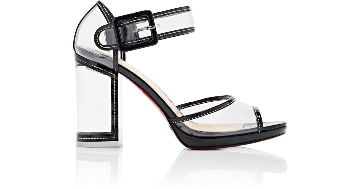 676d1b373a60 ... france lyst christian louboutin barbaclara patent leather pvc platform sandals  in black 2f53d 88272