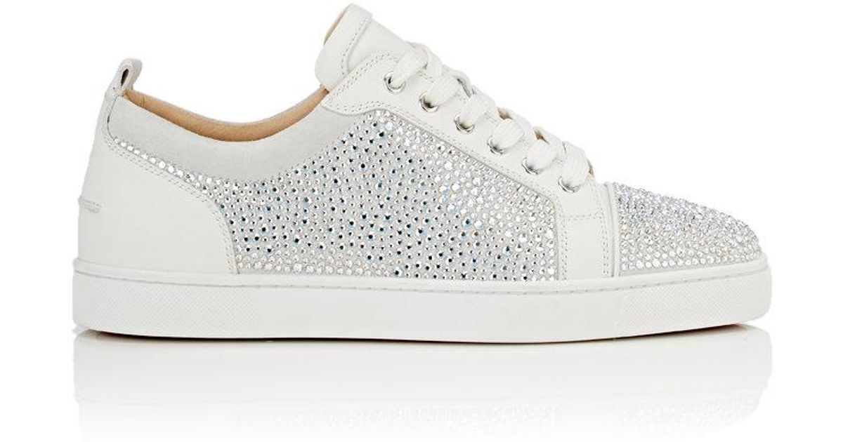 c9663f4ee94 Lyst - Christian Louboutin Louis Junior Strass Flat Sneakers in White
