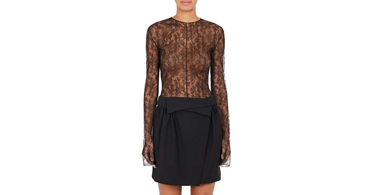 44de101b59 Lyst - Nina Ricci Sheer Lace Bodysuit in Black