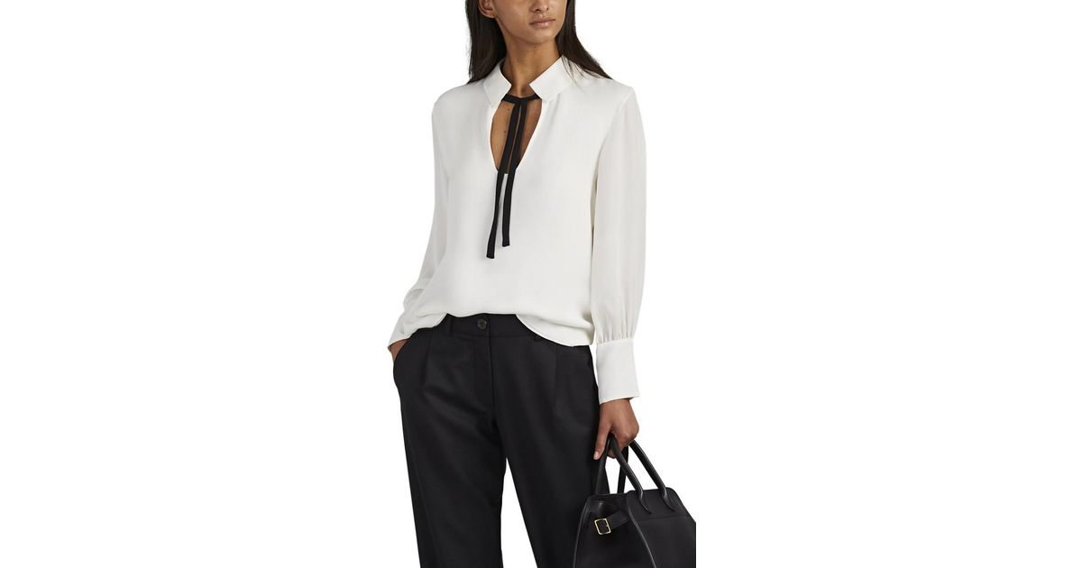 ee2eee97a73be9 Nili Lotan Anette Silk Georgette Blouse in White - Lyst
