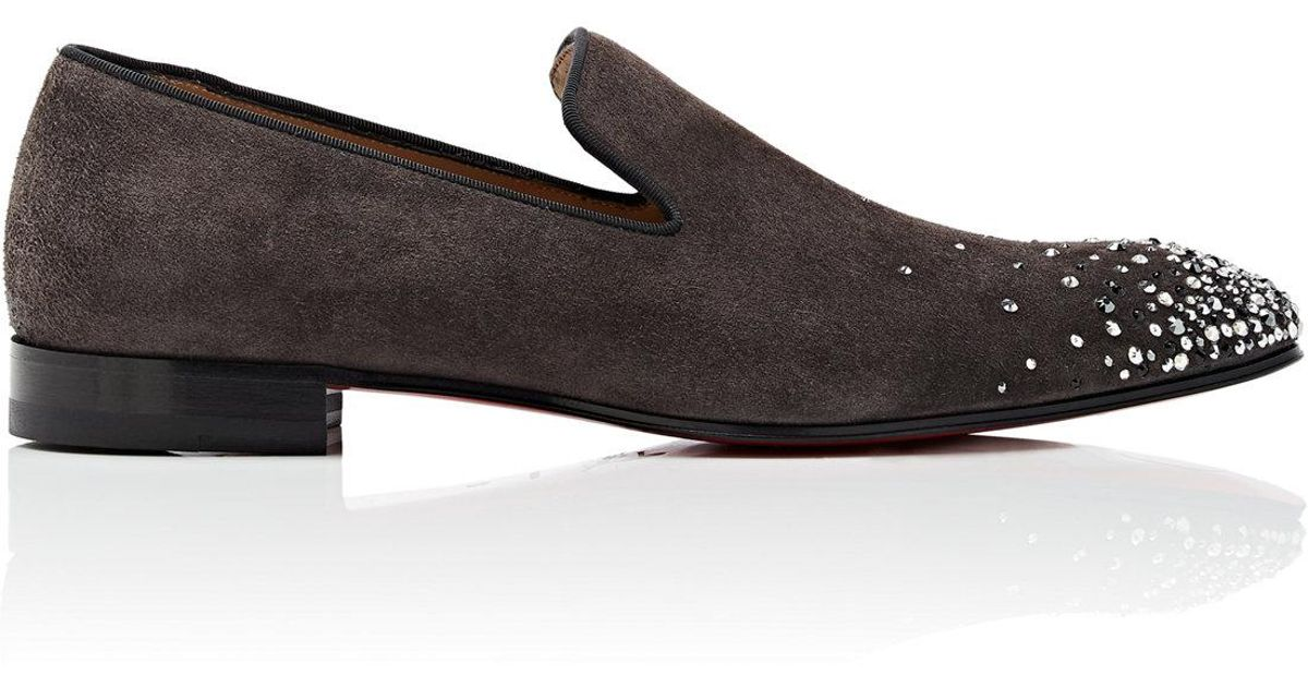 outlet store 3e71e f58bc Christian Louboutin Gray Dandelion Degra Flat Suede Venetian Loafers