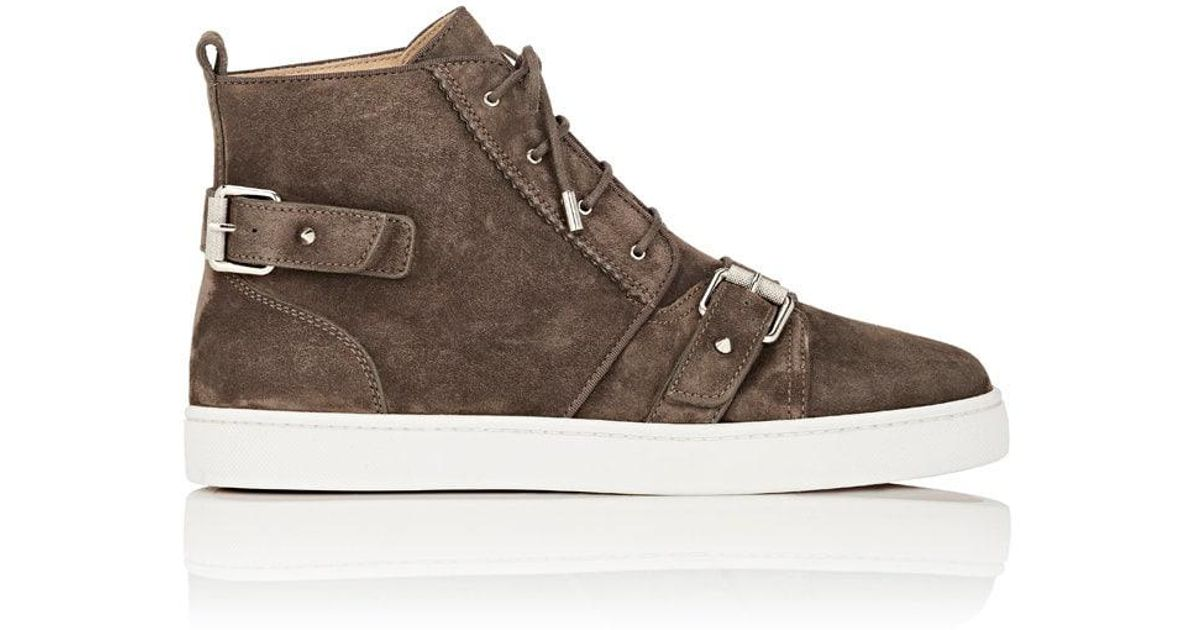 34d0c14938df france lyst christian louboutin nono strap suede sneakers in gray for men  324df 65607