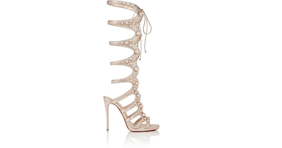 3bcec031e0bb ... sale lyst christian louboutin amazoutiful specchio leather gladiator  sandals in metallic 31f58 1963d