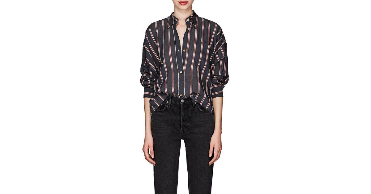 étoile Isabel Marant Black Ycao Striped Cotton Blend Voile Shirt