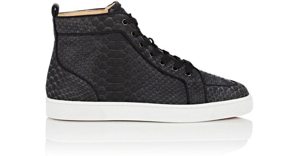 aa847227f85 Christian Louboutin Black Men's Rantus Python High-top Sneakers for men