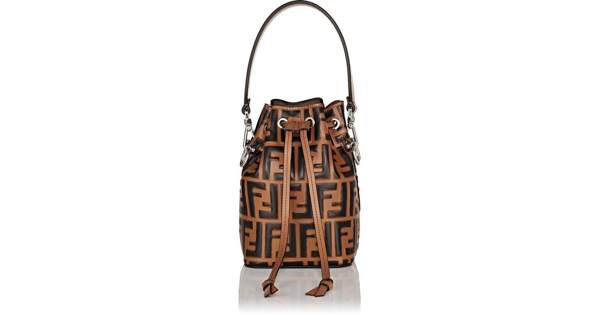 22fc76e2f9d9 Lyst - Fendi Mon Tresor Mini Bucket Bag in Brown