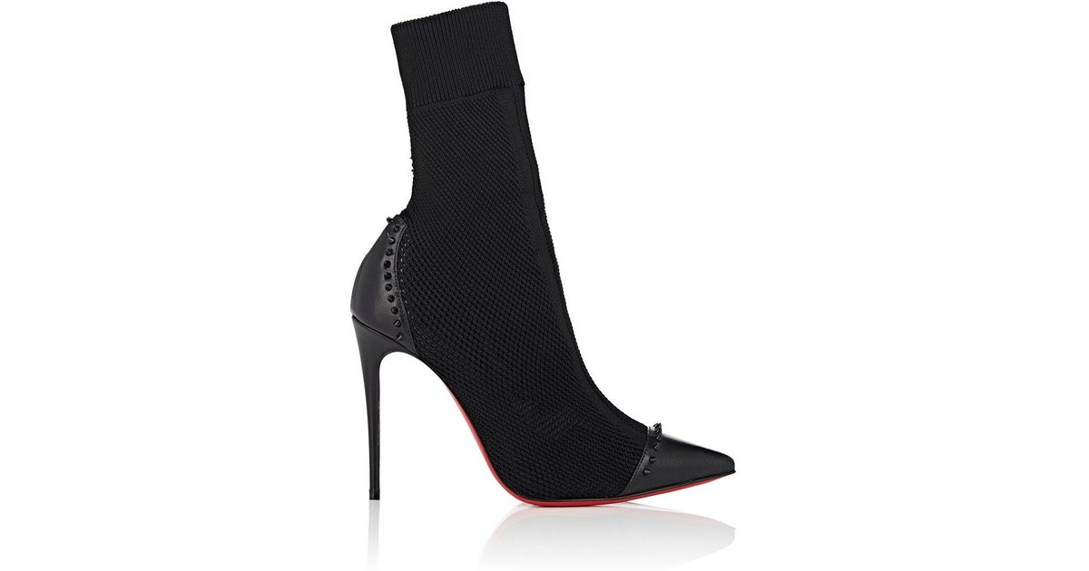 676446275cd Lyst - Christian Louboutin Dovi Dova Knit   Leather Ankle Boots in Black