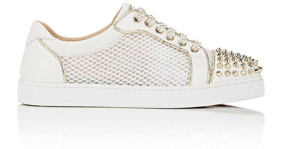 92e209aaaea Christian Louboutin White Ac Viera Spikes Flat Leather & Mesh Sneakers